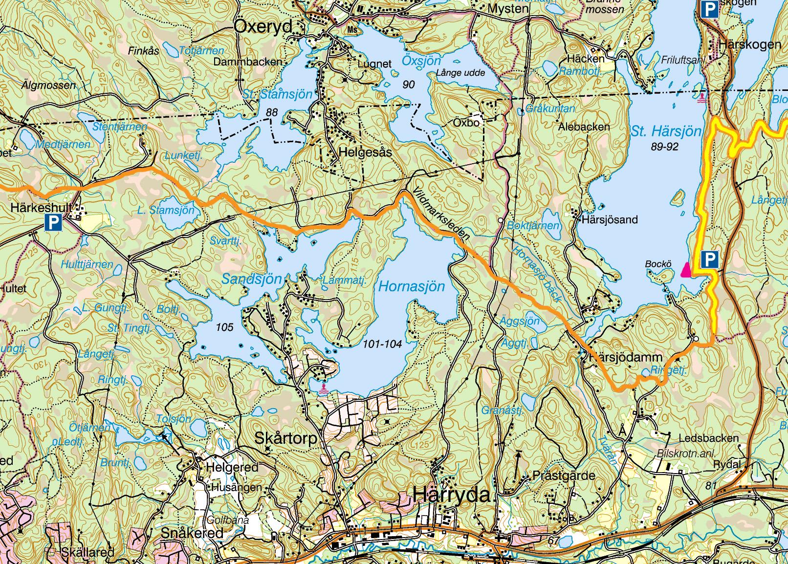 Karta Härkeshult - Härskogen